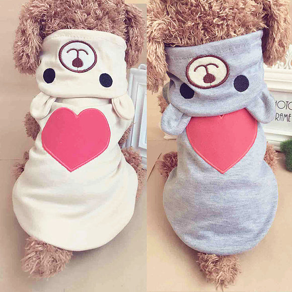 PET PAJAMAS HOODIES COTTON LOVE BEAR COSTUME WINTER OUTFIT DOG PUPPY APPAREL PET