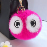 KEYCHAIN WOMEN POMPOM FLUFFY BALL CUTE BIG EYES PANDA ARTIFICIAL RABBIT FUR CAR