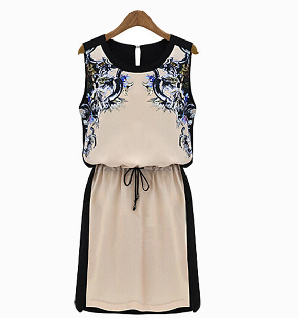 WOMEN WINTER DRESSES CASUAL OFFICE DRESS VINTAGE FLORAL PRINT SLEEVELESS PLUS SI