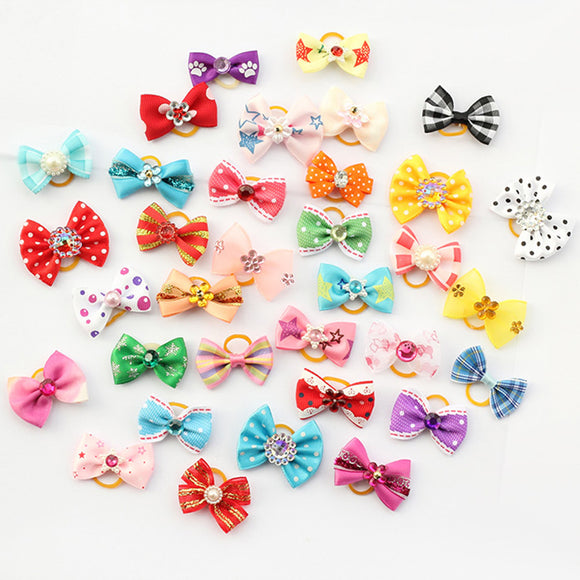 PET LITTLE FLOWER BOWS HAIR ACCESSORIES HANDMADE PET GROOMING CHARMS PRODUCTS.