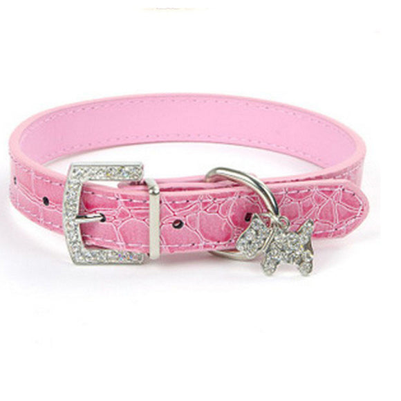 PET COLLAR CRYSTAL PENDANT BUCKLE LEAD NECK STRAP LEATHER PET ACCESSORIES DOG CA
