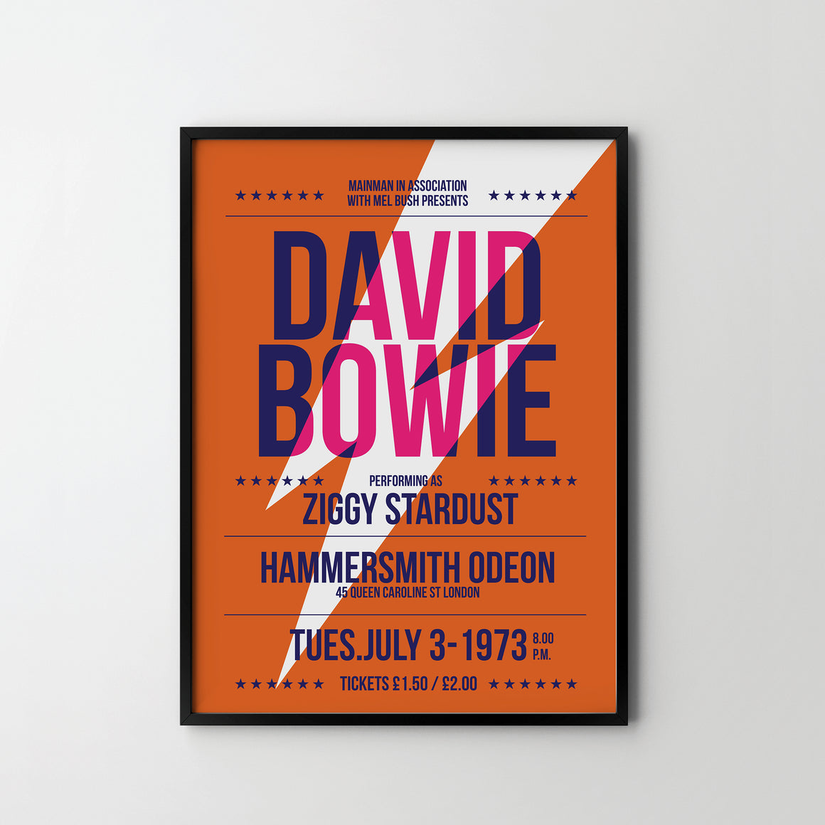 DAVID BOWIE Ziggy Stardust CONCERT Poster Art Print, Music Rock Posters - SOA State of Art