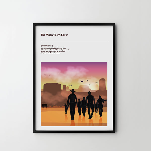 MAGNIFICENT SEVEN Western 2016 Poster Art Print, Movie Film Posters Denzel Washington - SOA State of Art