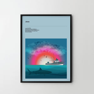 JAWS 1975 SPIELBERG Poster Art Print, Movie Film Posters - SOA State of Art