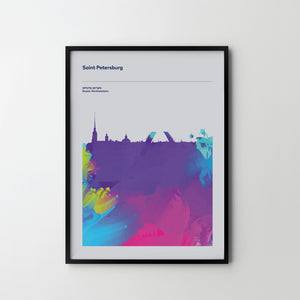 St Petersburg City Cityscape Skyline Unique Poster Art Print, Places Posters - SOA State of Art