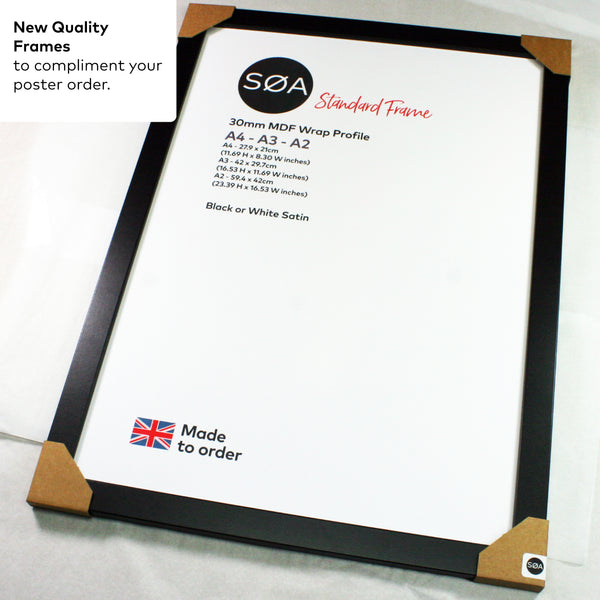A2 Quality Picture frames MDF Profile Black / White MDF Wrap frame Options - SOA State of Art