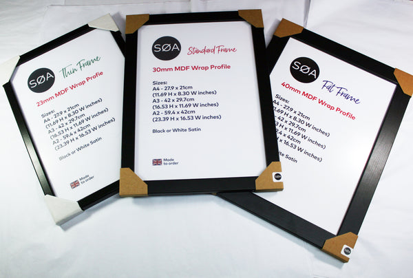 A4 / A3 Quality Picture frames MDF Profile Black / White MDF Wrap frame Options - SOA State of Art