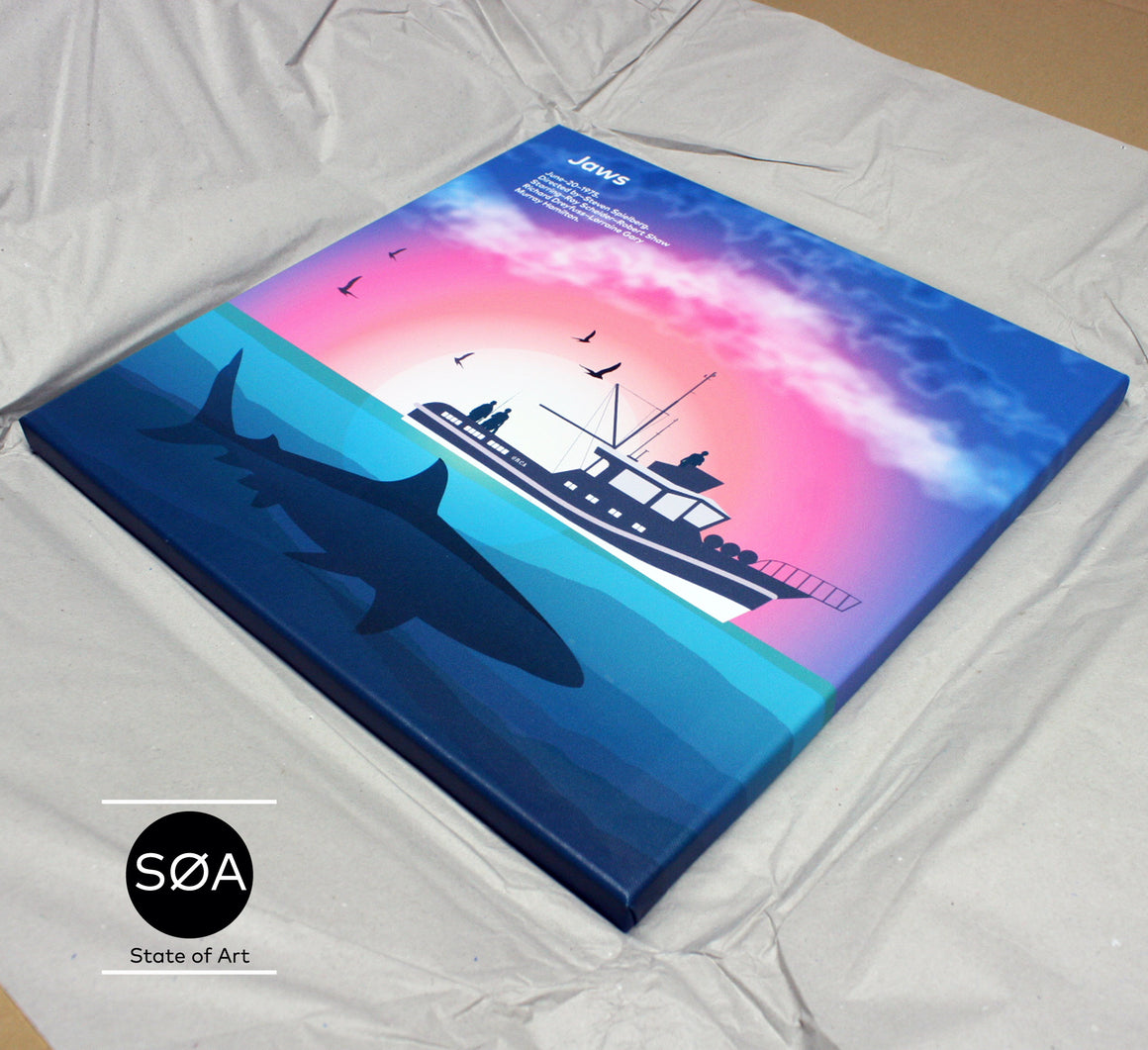 JAWS CANVAS PRINT Art Print, Movie Film 1975 Spielberg - SOA State of Art