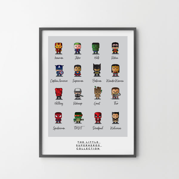 SUPERHERO COLLECTION Little Mini Superhero Giclée Art Poster Print Animation, Superhero - SOA State of Art