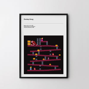 DONKEY KONG 1981 Retro Poster Art Print, Video Game Posters, Nintendo Poster - SOA State of Art