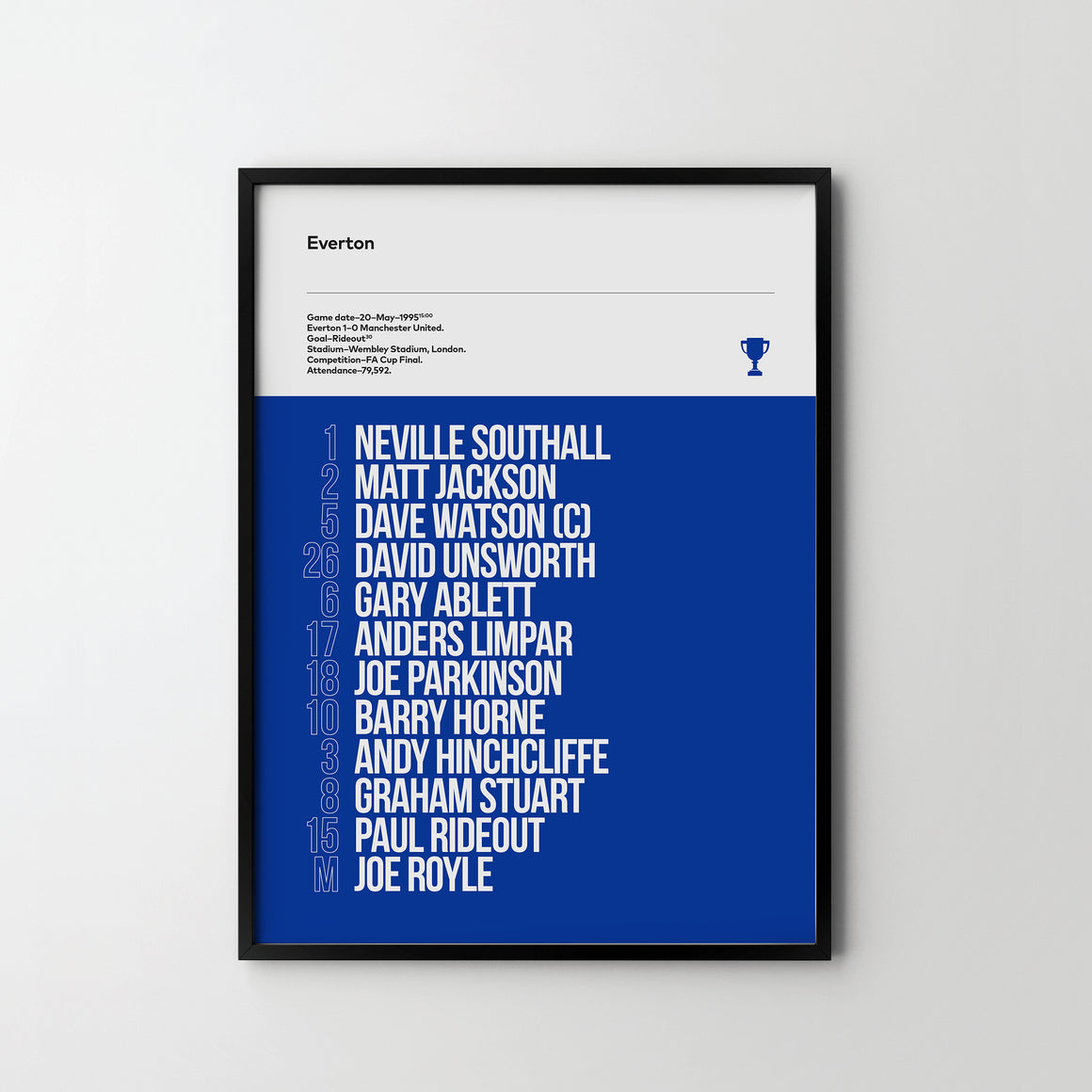 EVERTON FC, FA Cup Final 1995, Team Football Poster Art Print, Sport Posters - SOA State of Art