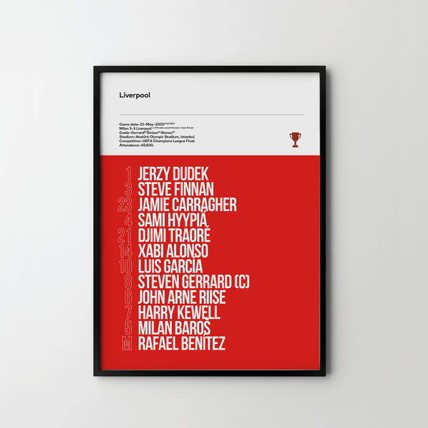LIVERPOOL FC, UEFA Champoins League Final 2005, Team Football Poster Art Print, Sport Posters - SOA State of Art