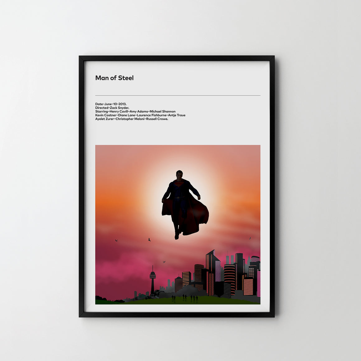 MAN OF STEEL 2013 Poster Art Print, Movie Film Posters Superman - SOA State of Art