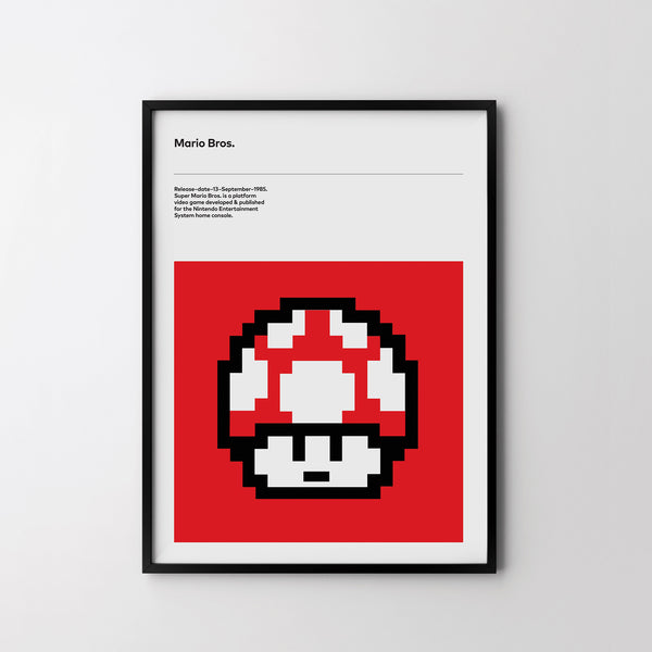 TOAD Super Mario Bros 1985 Retro Poster Art Print, Video Game, Minimal Poster - SOA State of Art