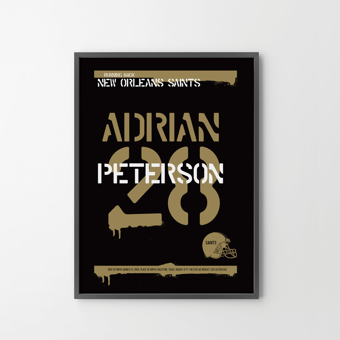ADRIAN PETERSON New Orlean Saints American Football NFL Poster Art Print, Sport Posters - SOA State of Art