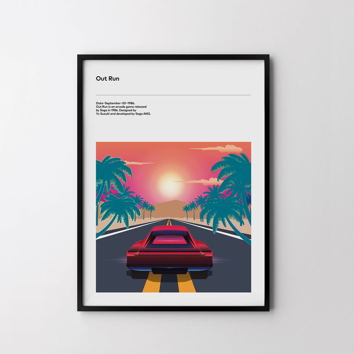 OUT RUN SEGA 1986 Retro Poster Art Print, Video Game, Minimal Poster - SOA State of Art