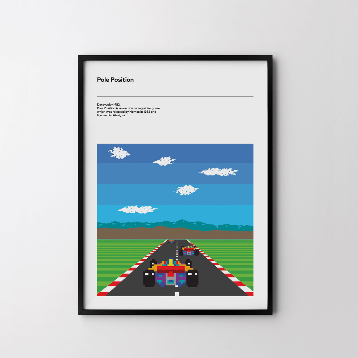 POLE POSITION Atari 1982 Retro Poster Art Print, Video Game Minimal Poster - SOA State of Art
