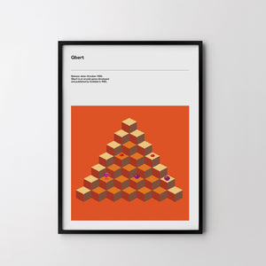 QBERT CUBES 1982 Retro Poster Art Print, Video Game Minimal Poster - SOA State of Art