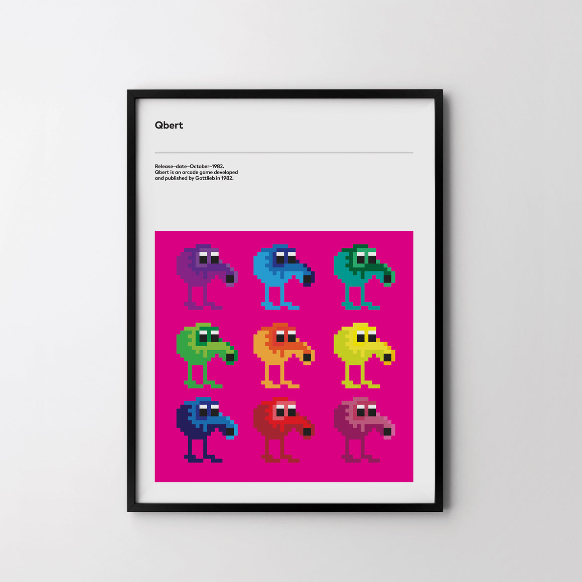 QBERT PIXELS 1982 Retro Poster Art Print, Video Game Minimal Poster - SOA State of Art