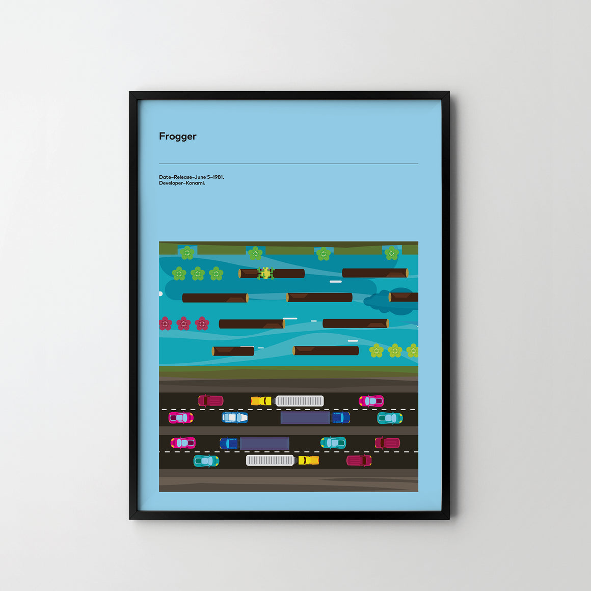 FROGGER 1981 Poster Art Print, Retro Video Games Poster Frogger - SOA State of Art