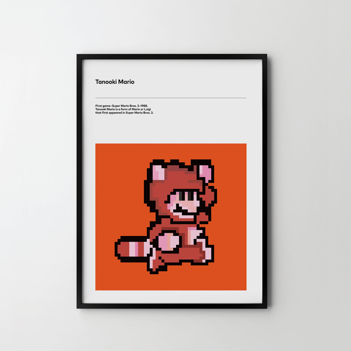 TANOOKI Mario 1988 Poster Art Print, Retro Video Games Poster Super Mario - SOA State of Art
