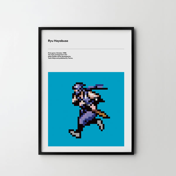 Ryu Hayabusa Ninja 1988 Poster Art Print, Retro Video Games Poster Ninja Warrior - SOA State of Art