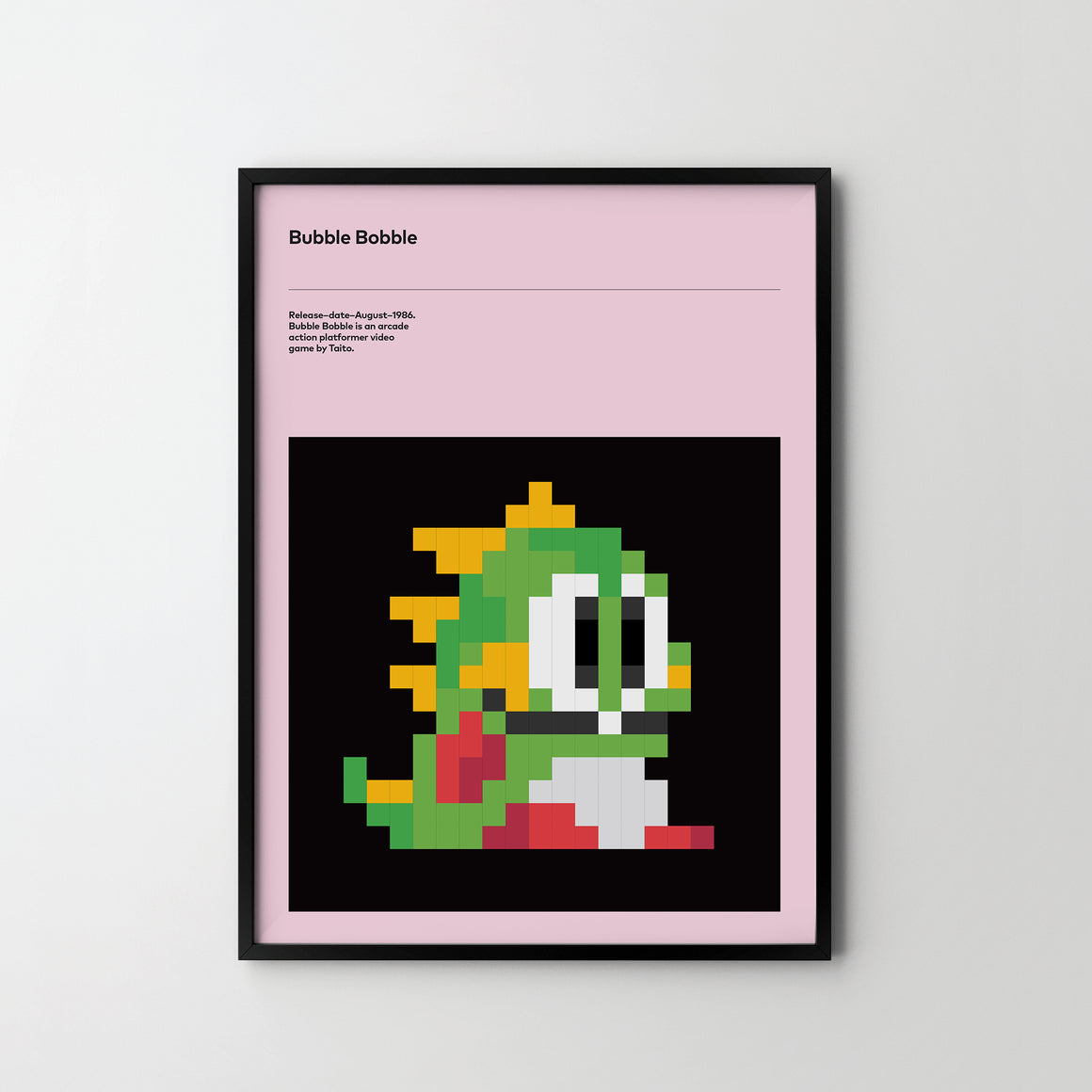 Bubble Bobble 1986 Poster Art Print, Retro Video Games Poster Bubble Bobble - SOA State of Art