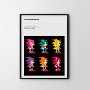 SONIC HEDGEHOG Sega 1991 No2 Retro Art Print, Video Game Minimal Poster - SOA State of Art