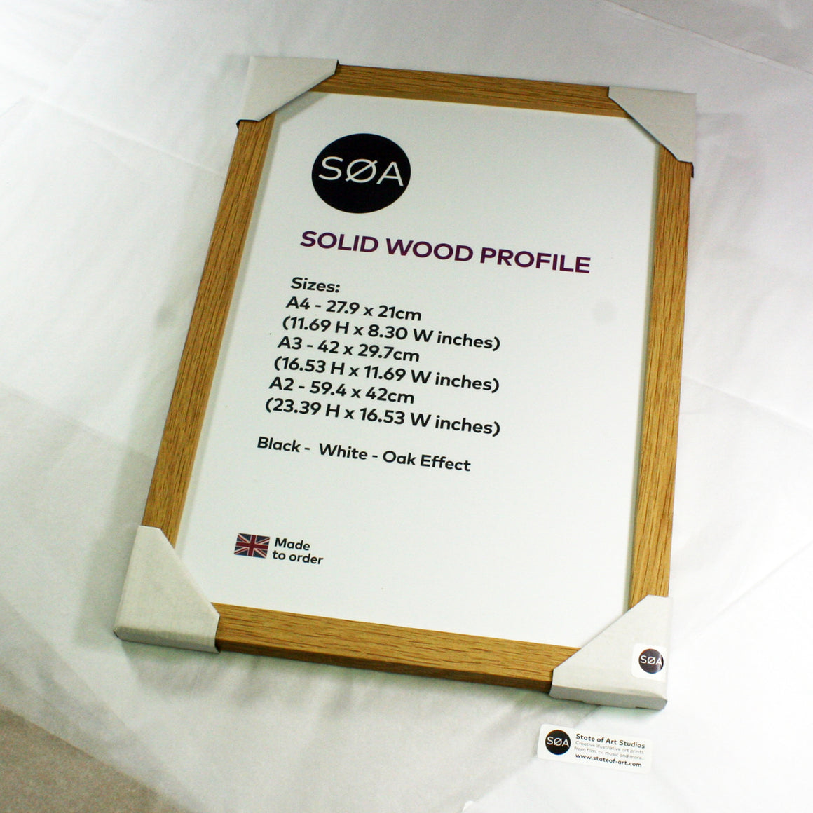 A4 SOLID WOOD Picture Frame Black / White / Oak A4 Quality photo certificate frames - SOA State of Art
