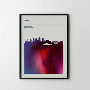 SYDNEY City Cityscape Skyline Unique Poster Art Print, Places Posters - SOA State of Art