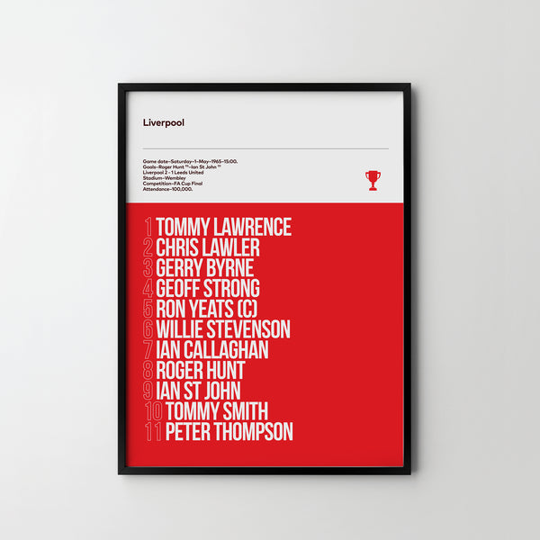LIVERPOOL FC FA Cup Final 1965 Team Football Poster Art Print, Sport Posters - SOA State of Art