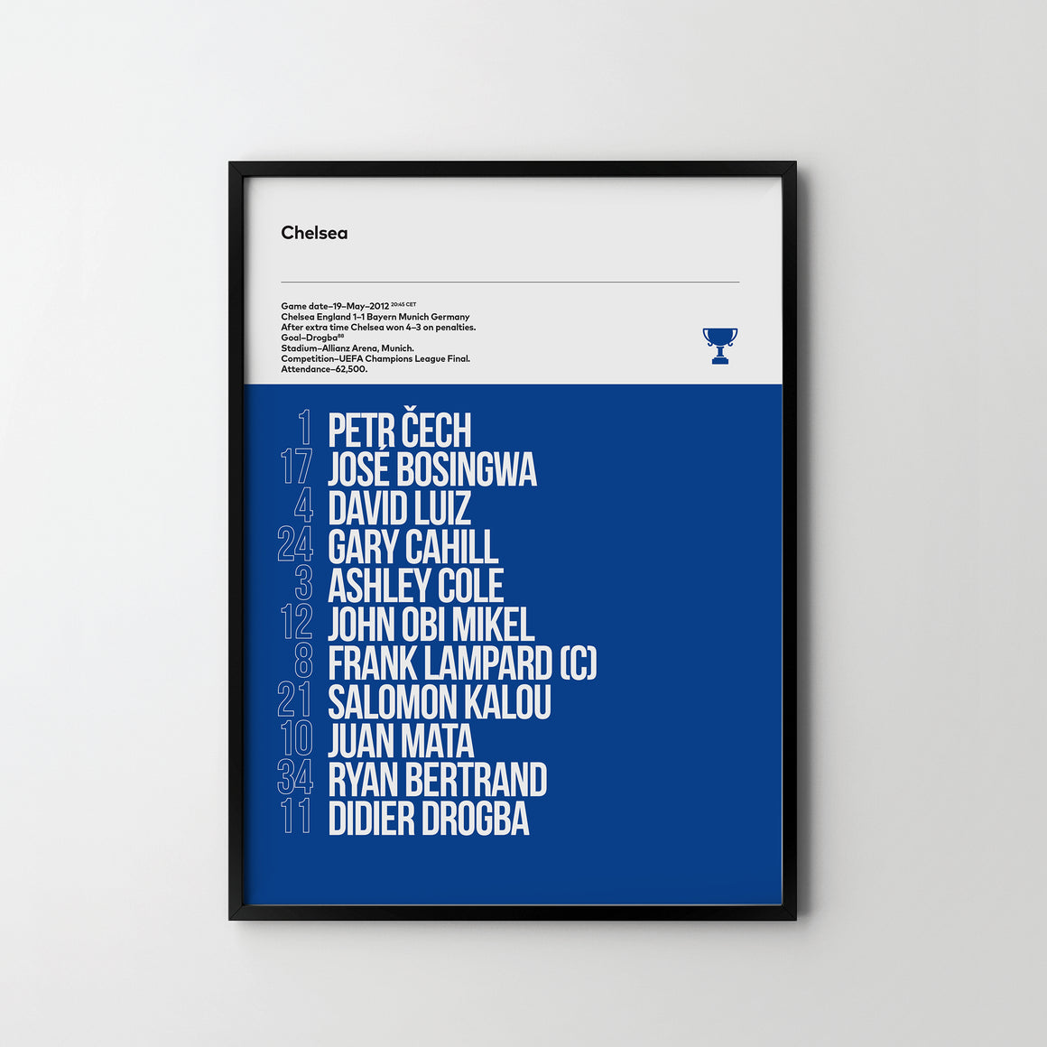 CHELSEA FC UEFA Champions League Final 2012 Team Football Poster Art Print, Sport - SOA State of Art