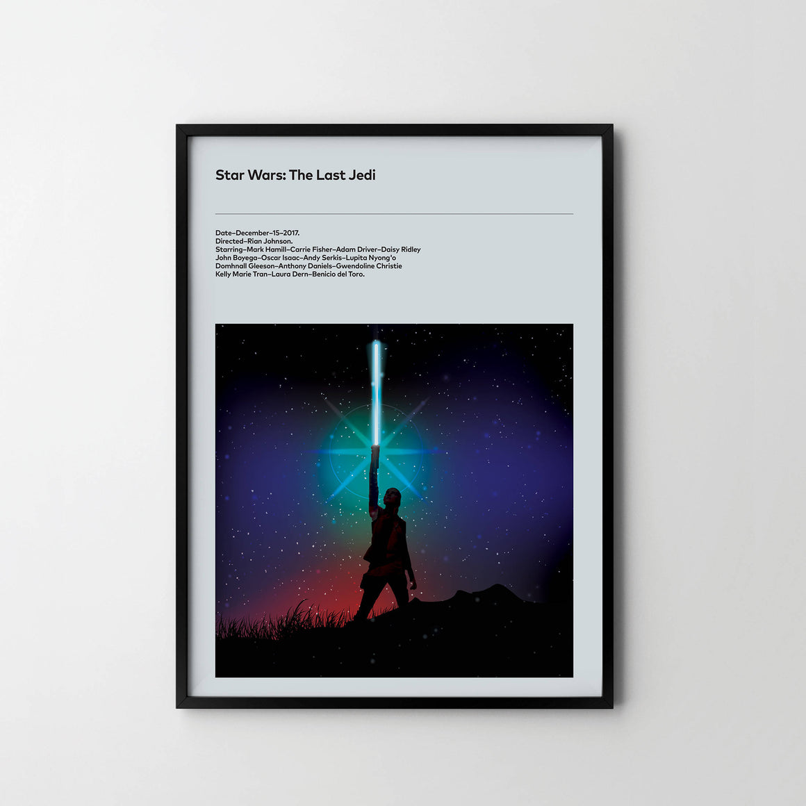 THE LAST JEDI 2017 Star Wars Movie Poster Art Print, Film Posters 201, Movie Film Posters - SOA State of Art