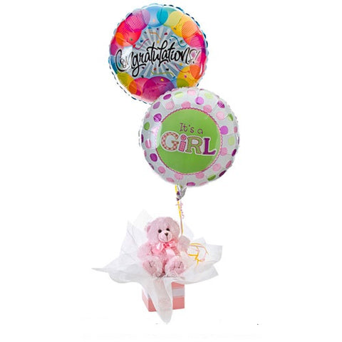 BALLOONS AND TEDDY (PINK)