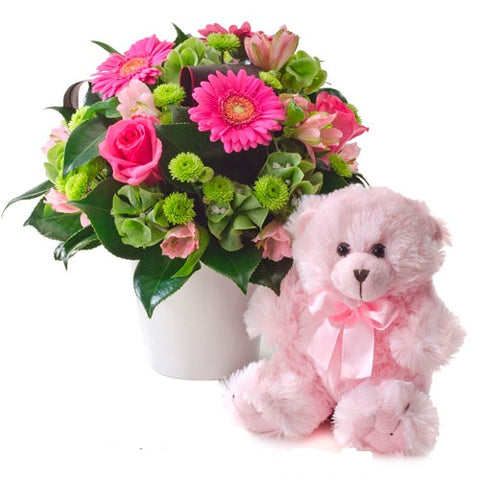 FLOWERS & TEDDY (PINK)