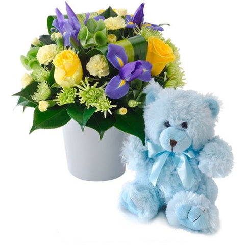 FLOWERS & TEDDY (BLUE)