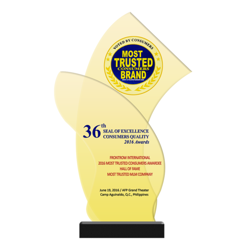 FRONTROW INTERNATIONAL 2016 Most Trusted Consumers Awardee Hall of Fame Hall of Fame Most Trusted MLM Company