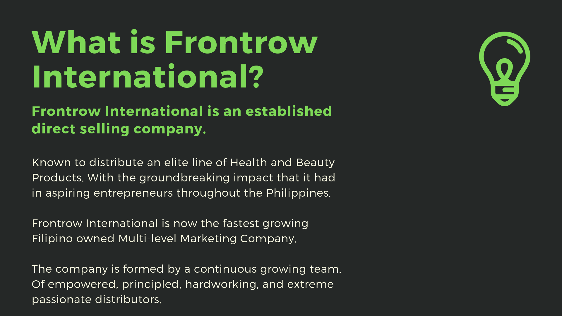 what is frontrow international