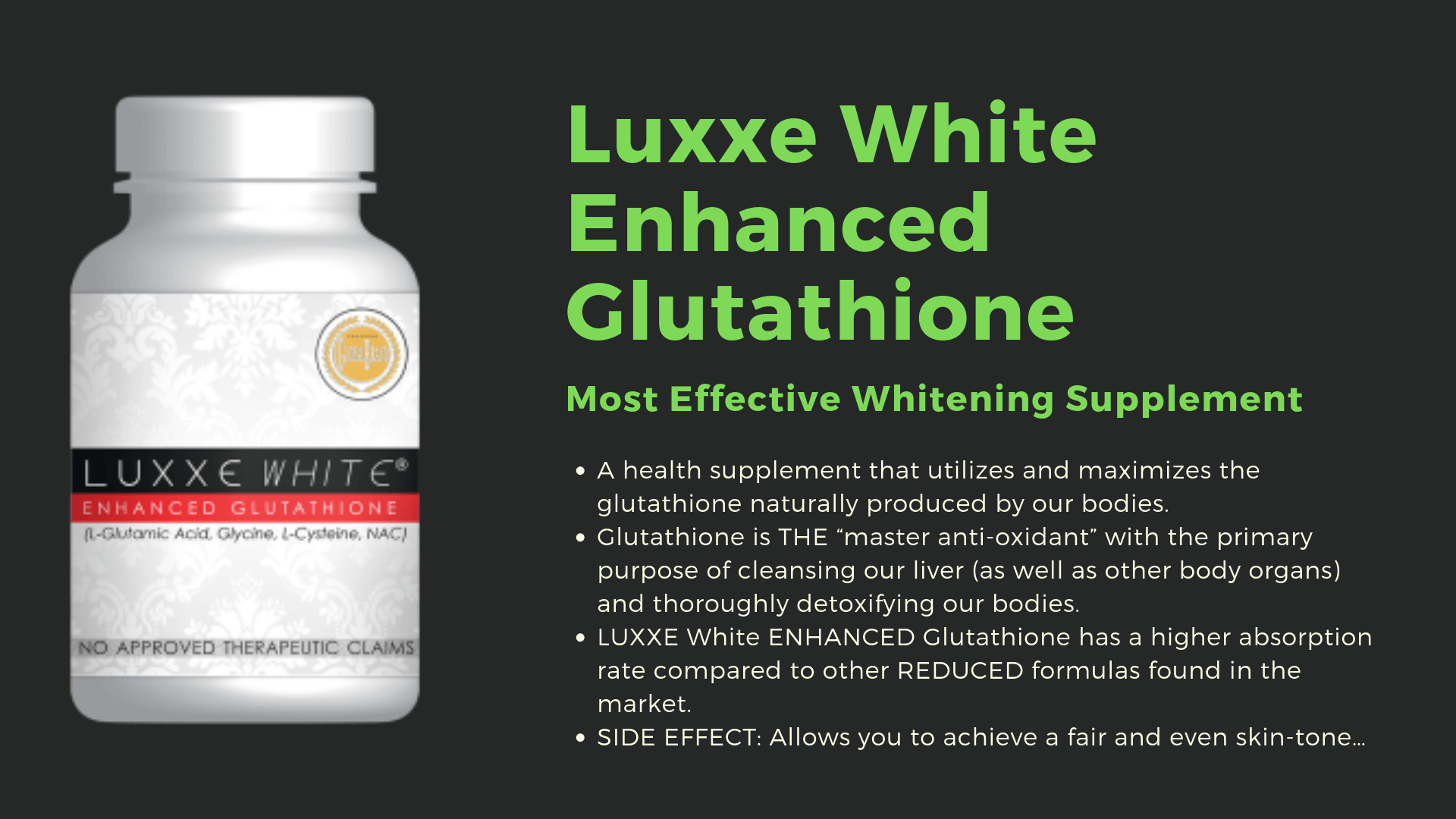 luxxe white enhanced glutathione image details