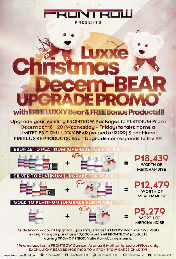 Frontrow Luxxe Christmas Upgrade Promo with Free Luxxy Bear and Free Bonus Products (2019)