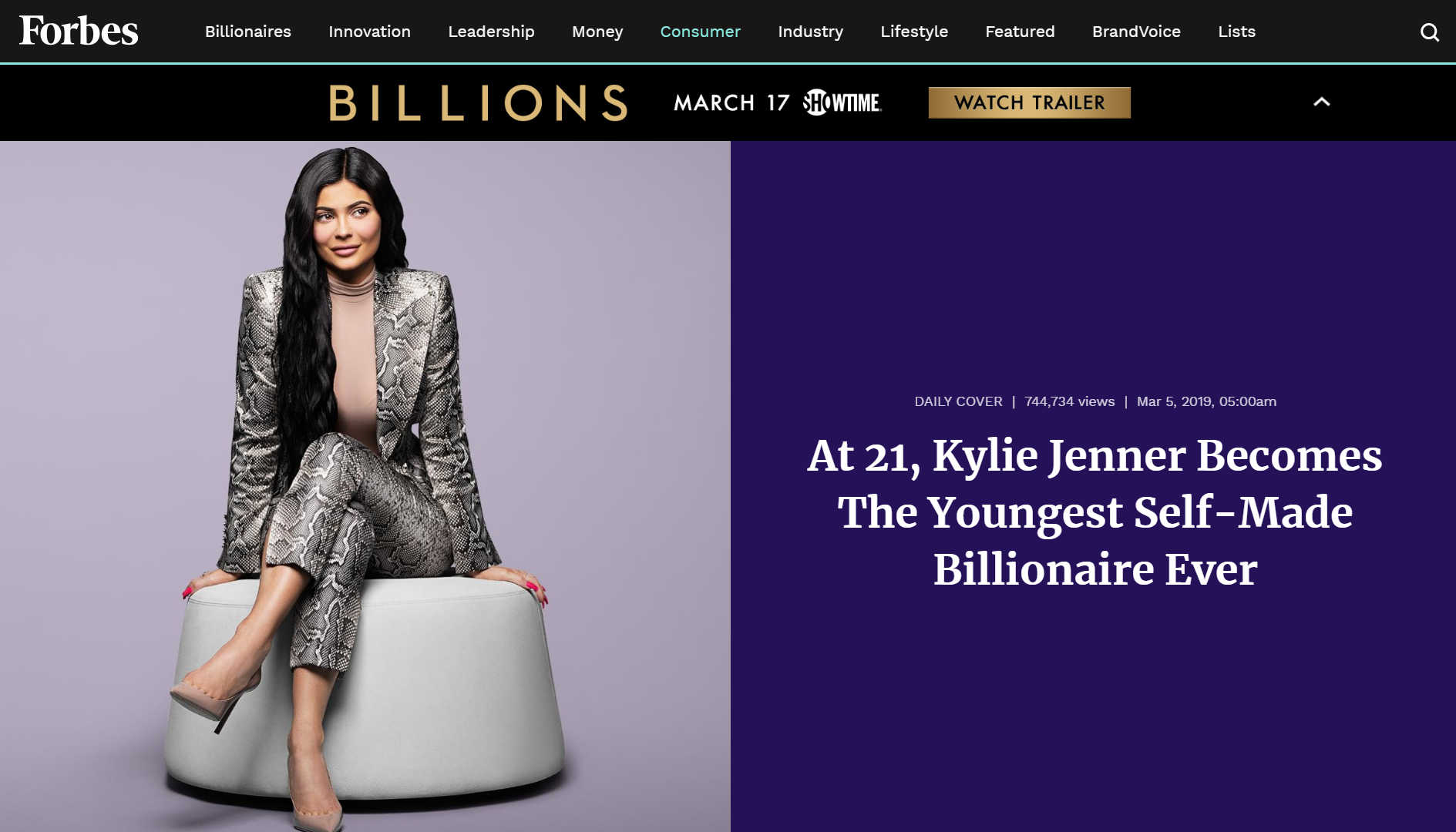 At 21, Kylie Jenner Becomes The Youngest Self-Made Billionaire Ever