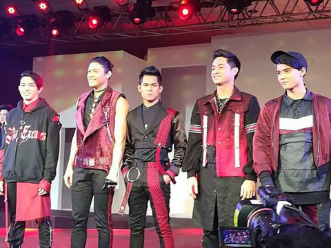 BOYBAND'S (FROM LEFT TO RIGHT) JOAO CONSTANCIA, TRISTAN RAMIREZ, NIEL MURILLO, FORD VALENCIA AND RUSSELL REYES TAKE OVER THE LUXXE REVEAL STAGE. PHOTO CREDIT: NEERO LUMANGLAS