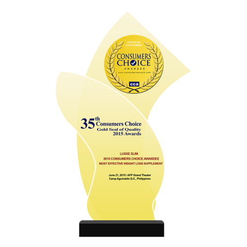 LUXXE SLIM 2015 Consumers Choice Awardee Most Effective Weight Loss Supplement