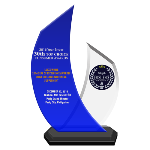 LUXXE WHITE 2016 Seal of Excellence Awardee Most Effective Whitening Supplement