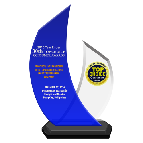 FRONTROW INTERNATIONAL 2016 Top Choice Awardee Most Trusted MLM Company
