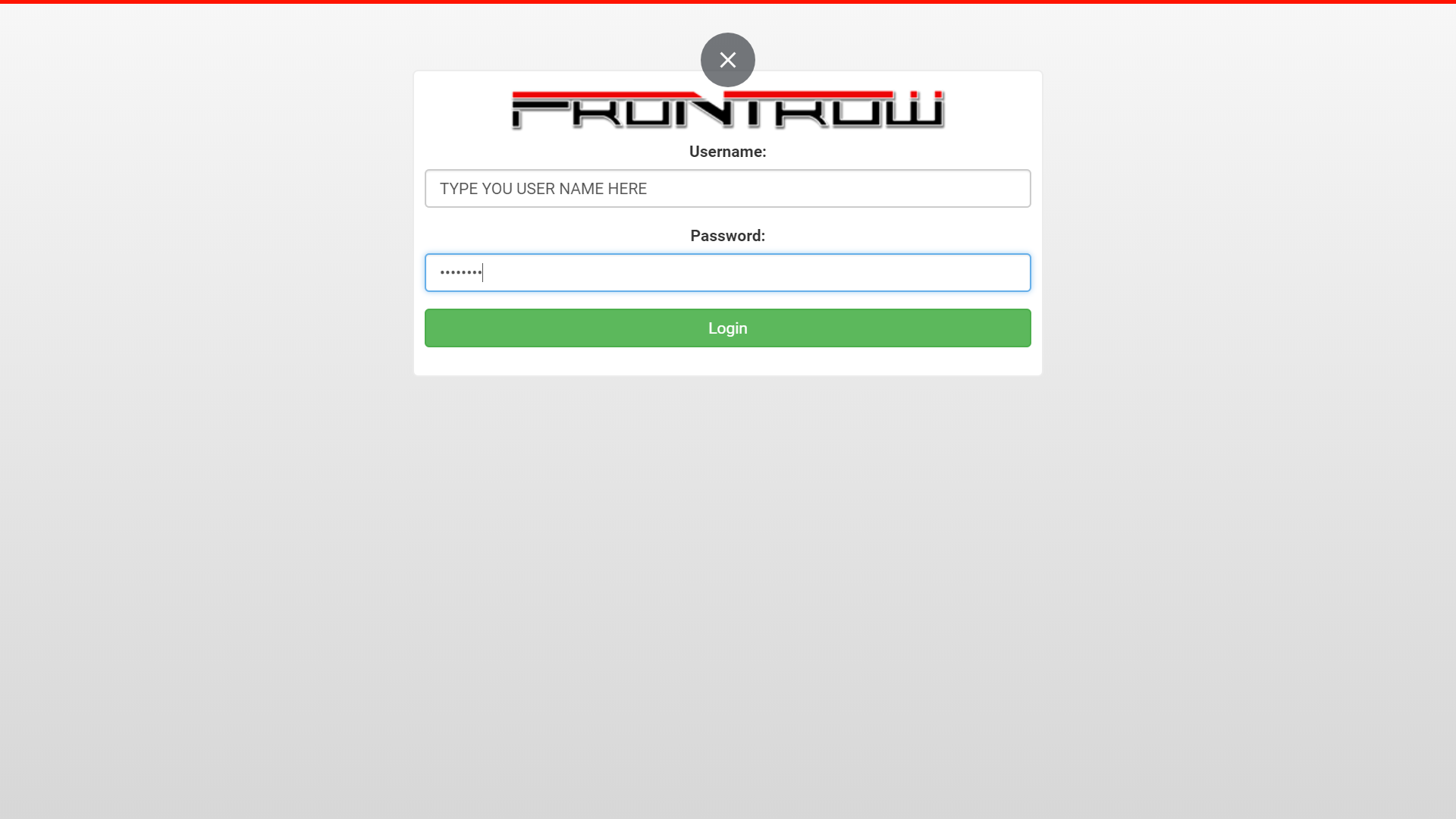 frontrow member login username and password