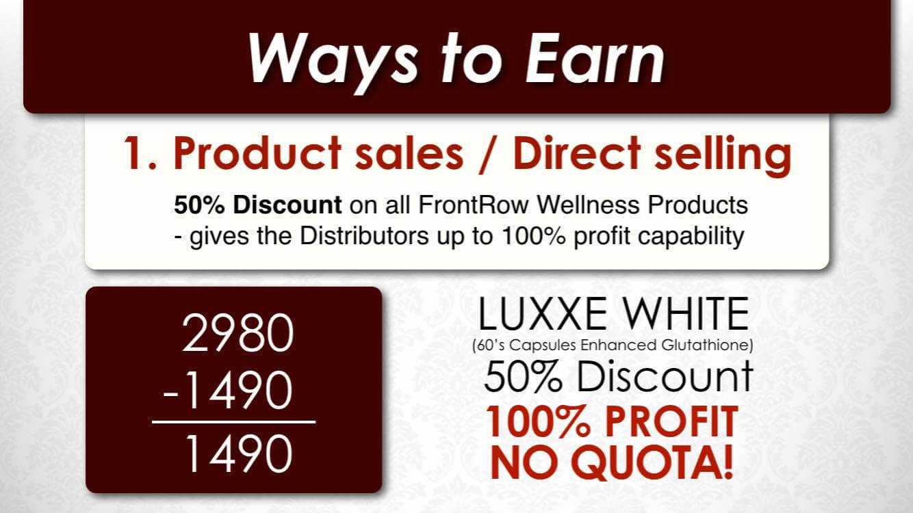 frontrow product sales or direct selling way to earn