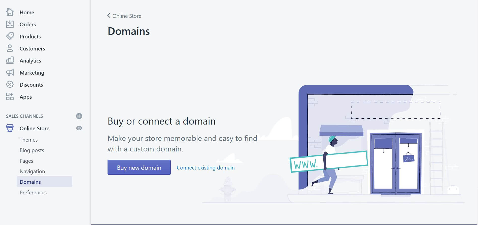 shopify buy or connect a domain