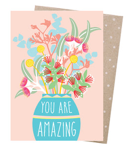 Amazing Bouquet Card - 100% Recycled Card Printed with Vegetable Based Ink
