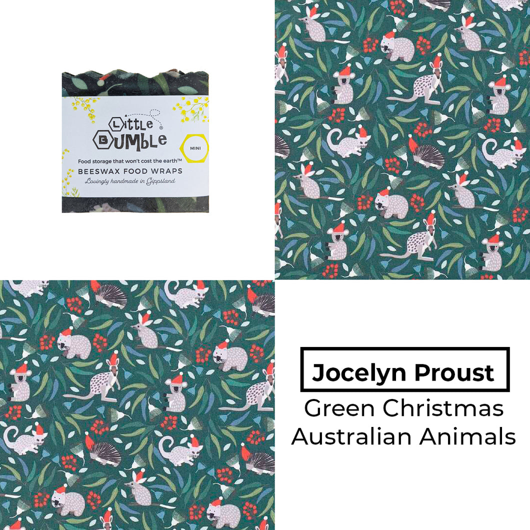 Jocelyn Proust - Green Christmas Animals - Mini wrap 15x15cm * BUY 1 GET 1 FREE!